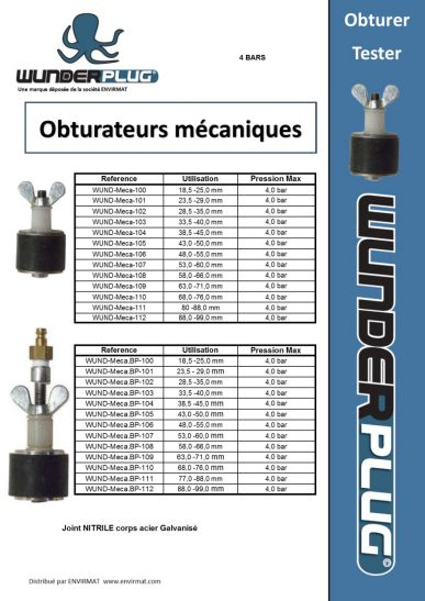 Obturateur piscine de test