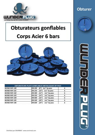 Obturateurs gonflables Corps Acier 6 bars WUNDERPLUG